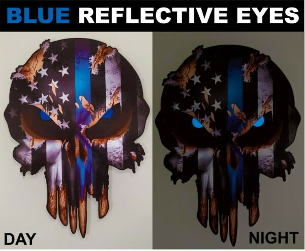 Thin Blue Line Skull Decal Reflective Window Sticker Car Truck Police Officer $5.99