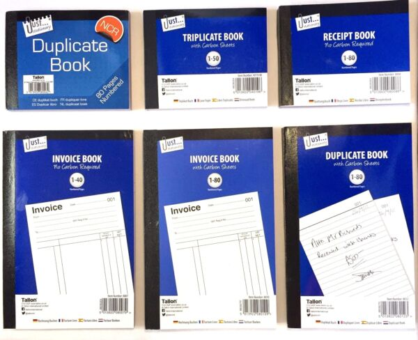 Full amp; Half Size Duplicate Triplicate Invoice Receipt Book Numbered Pages GBP 2.59