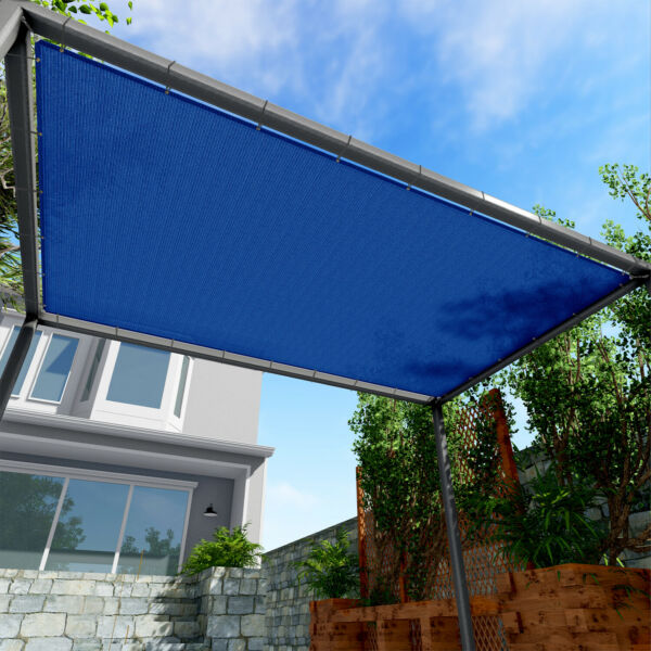 220GSM Sun Shade Sail Blue Straight Edge Finish Canopy Awning Patio Pool11-16'FT