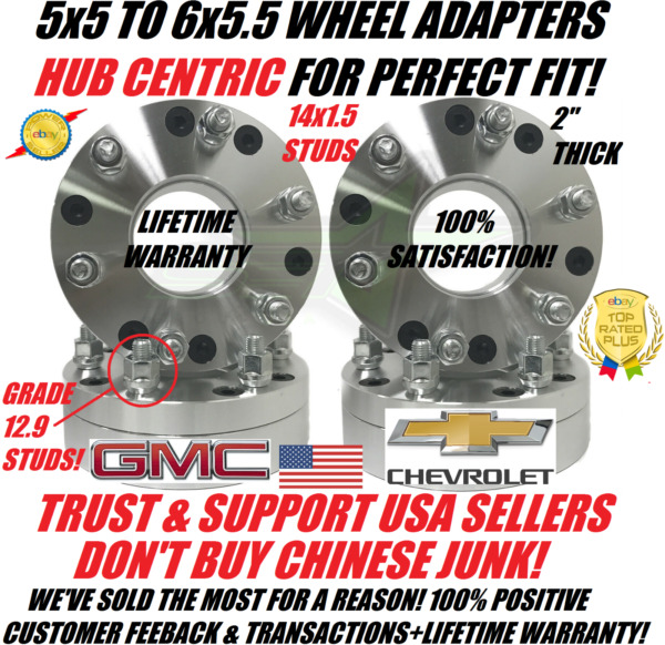 5x5 To 6x5.5 Hubcentric Wheel Adapters 2