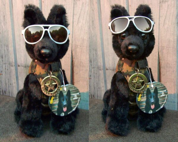 Black German Shepherd Plush Police Dog with K9 Badge Cool Shades K9 Fundraiser $20.00