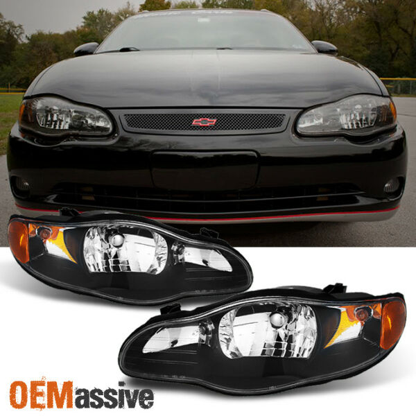 Fit 00 05 Monte Carlo Black Headlight Front Lamps Replacement Left Right