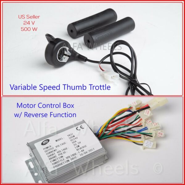 500W 24V Kit Motor Control Box w Reverse+Thumb Throttle f Electric Kart eATV DIY