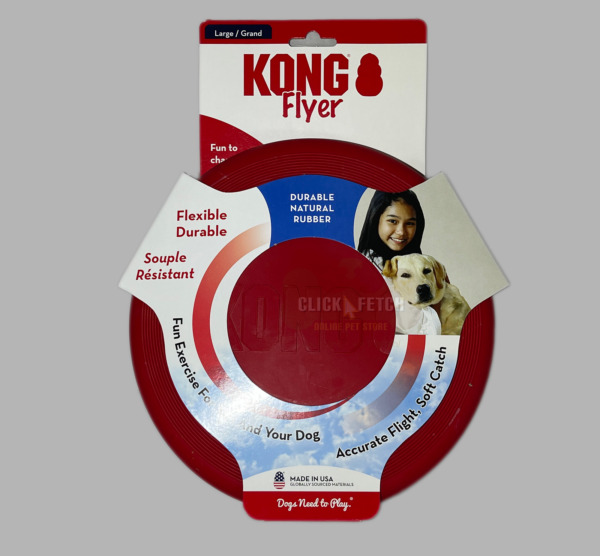 Durable Frisbee Flyer KONG Dog Toy Tough Safe Fetch & Catch - Small Large Strong