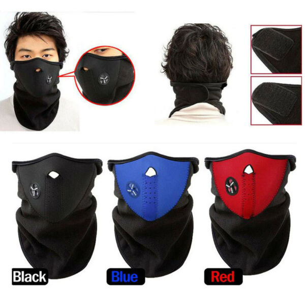 Ski Winter Half Face Mask Cover Hat Cap Motorcycle Thermal Fleece Balaclava Neck