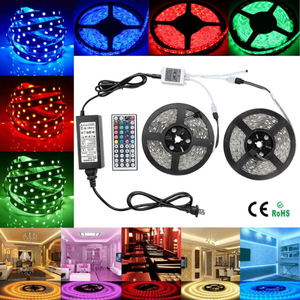1-30M 30/60 LEDs SMD 5050 RGB Flexible Strip Light + Remote +DC 12V Power Supply