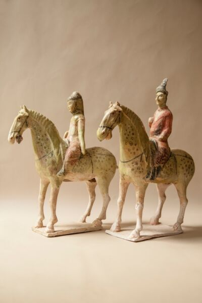 "Chinese Sui Dynasty (c. 581-617 CE) Glazed Horse with Rider pair 17"" H x 14 14"""