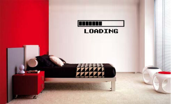 GAMING LOADING VINYL WALL DECAL ROOM DECOR LETTERING STICKER ART GAME ROOM DECAL