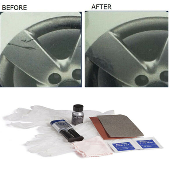 Car Wheel Rim Damage Scrapes Scuff Repair Stuff Fix Tool Kit Set Cleaning Cloth