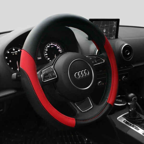 15'' PU Leather Car Steering Wheel Cover Sedan Universal Fit Protection Red
