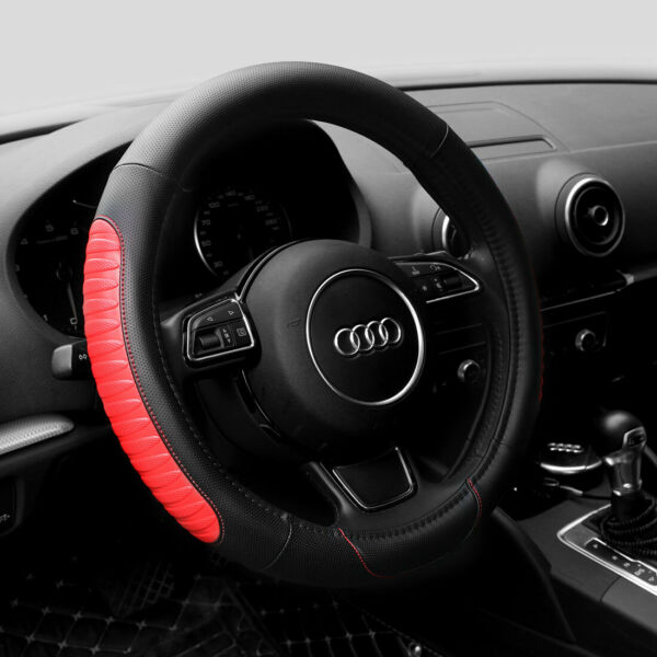 15'' PU Leather Car Steering Wheel Cover Sedan Universal Fit Protection M Red