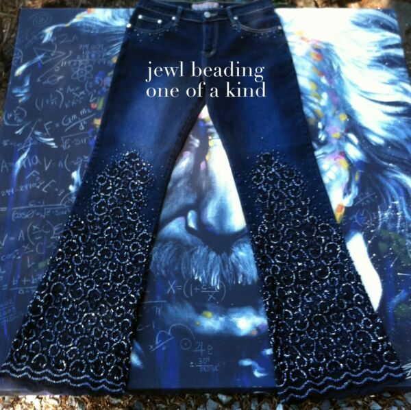Hand Made Woman's Jeans 2931 M Lace skinny beads flare jewel cute dark bulunga