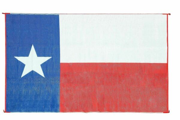 Outdoor Patio Deck RV Mat Reversible Rug 9 x 12 ft Foldable Texas Flag Lone Star