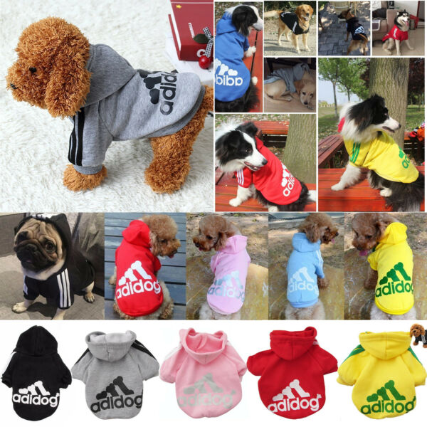 Winter Casual Adidog Pet Dog Clothes Warm Hoodie Coat Jacket Clothing For Dogs