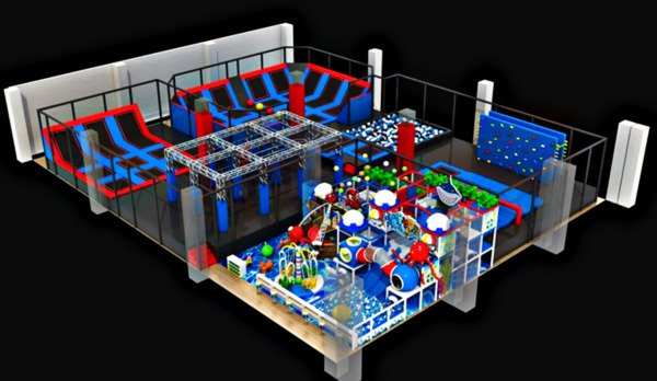 13500 sqft Commercial Trampoline Park Dodgeball Climb Inflatable We Finance