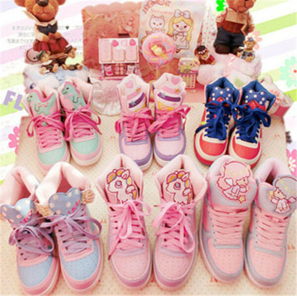 Cute Girl Harajuku Little Twin Star High Top Sport Shoes Student Casual Sneakers