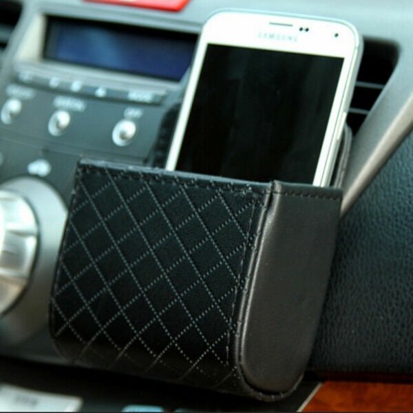 Auto Car Outlet Air Vent Leather Storage Pouch Black Bag Organizer Phone Holder