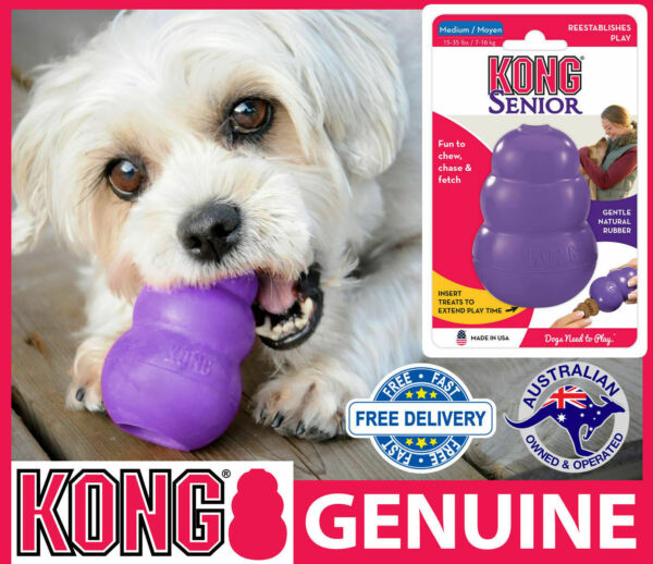 KONG Senior Interactive Dog Toy - Rubber Chew Treat Dispenser Suits Older Dog