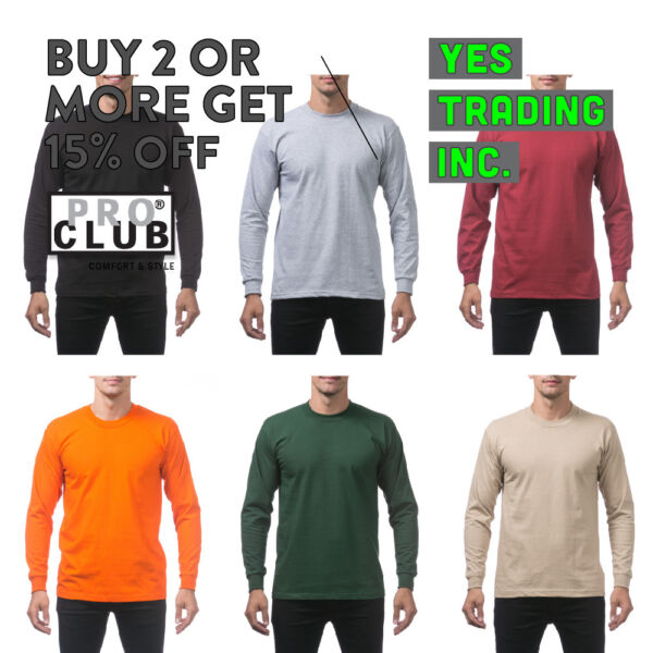 PROCLUB PRO CLUB MENS PLAIN LONG SLEEVE T SHIRT HEAVYWEIGHT CASUAL BIG AND TALL