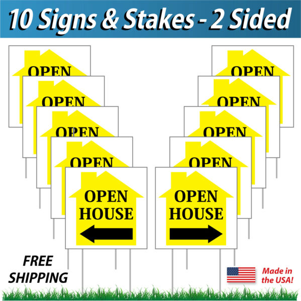 10 Signs - 12x12 Open House Directional Signs Corrugated Plastic + FREE Stakes Y