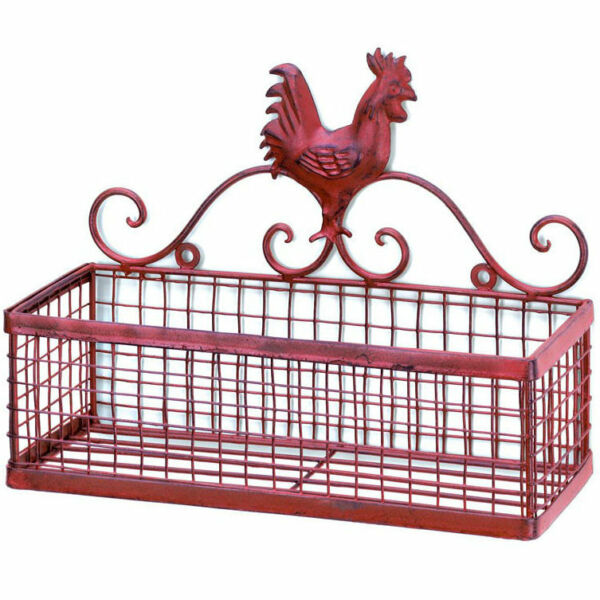 Single Basket Red Rooster Iron Wall Rack $28.50