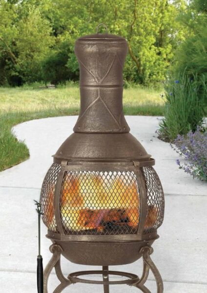 Chiminea Outdoor Fire Pit Patio Backyard Fireplace Wood Burner Burning Gift NEW