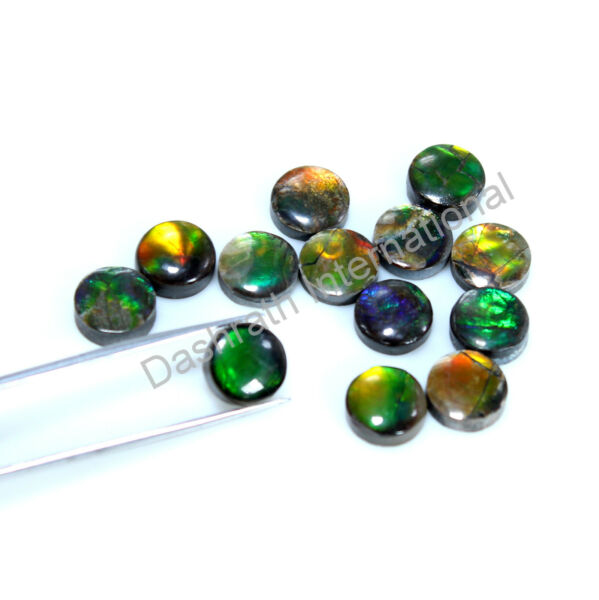 Ammolite Natural Fine Gemstone Calibrated Size Round Cabochon 6mm To 10mm