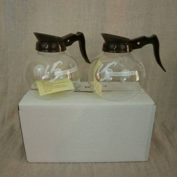 NIB Glass Coffee Pot Replacements 64 oz US Food Service Brown White Lot of 2