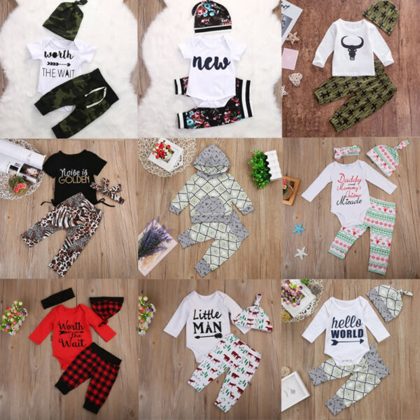 USA 3PCS Newborn Baby Boys Girls Clothes Romper Bodysuit+Pants Outfit Hat Set