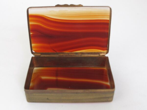 Antique Pill  Snuff  Trinket Box Scottish  Agate and Brass