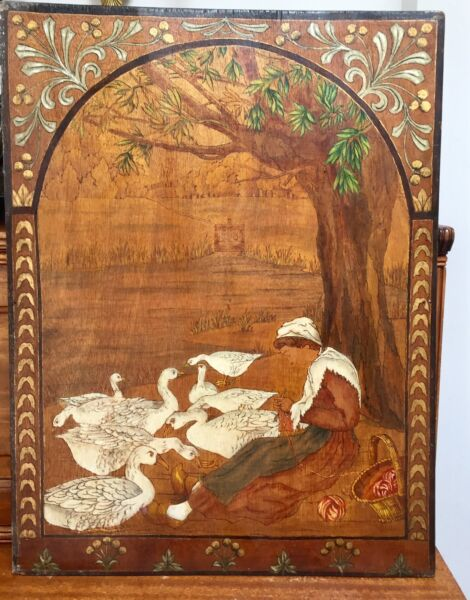 Large OOAK Antique FRENCH Handmade WOOD Pyrography Painting Geese Woman Knitting