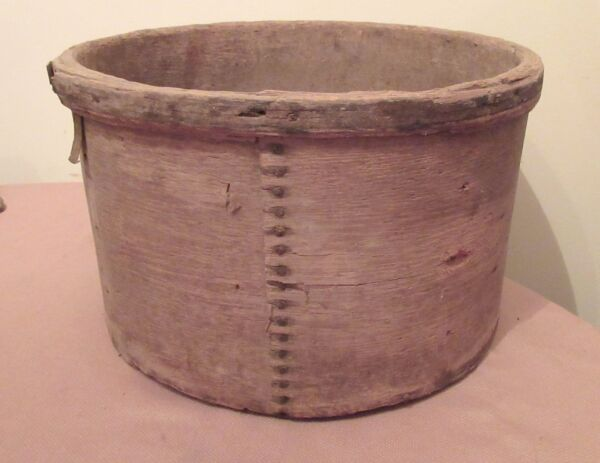 large 1800's antique handmade pantry cheese wood iron round box container wine
