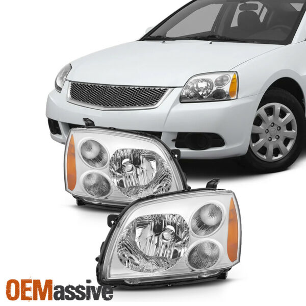 Fit 2004-2012 Mitsubishi Galant Chrome Halogen Type Headlights Lamps Replacement