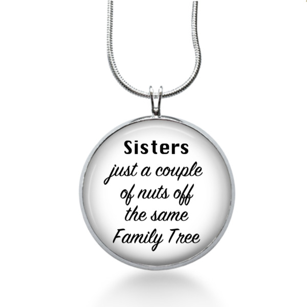 Sisters Family Tree Necklace Religious Quote Pendant Jewelry Gift for Girls