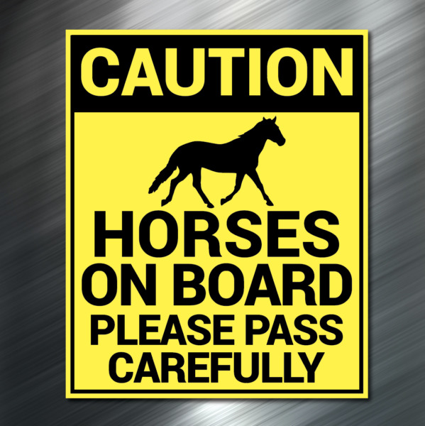 Horse on Board Dressage Jumper Truck 4x4 Trailer Riding Saddle Sticker Decal NEW $1.75