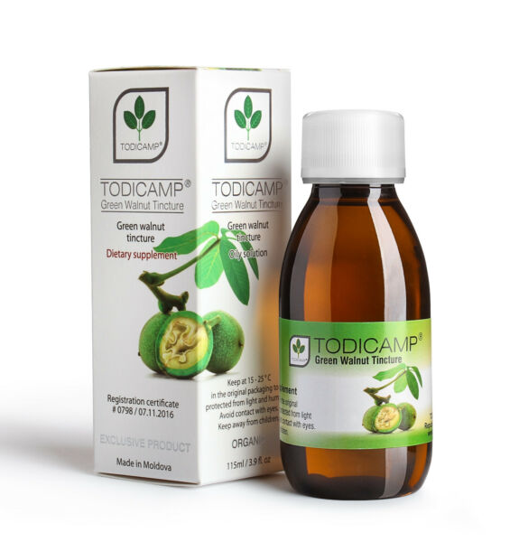 4 Bottles TODICAMP® Natural Green Walnut Tincture Directrly from Producer.