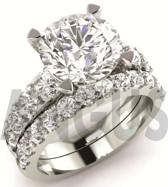 3.58 ct Brilliant Cut Diamond Engagement Ring Wedding Band Solid 14k White Gold
