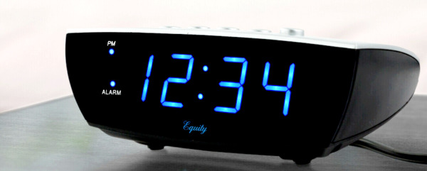 Equity SUPER LOUD Digital Alarm Clock Blue LED Display Electric w Battery Backup