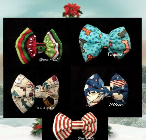 LUXURY Dog Collar Bows Bow tie Holiday Christmas Hand Made in USA Small dogs $11.99