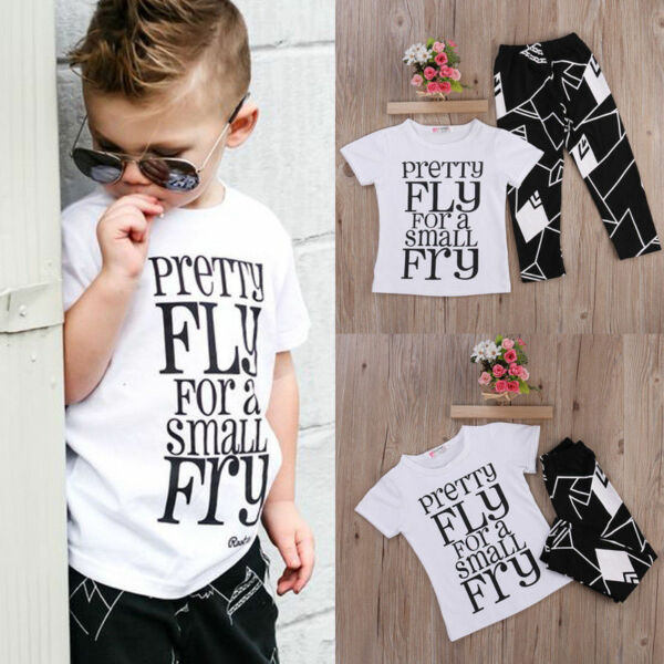 US Toddler Kids Baby Boy Cute Outfits Short Sleeve T-Shirt Top+Pants Clothes Set