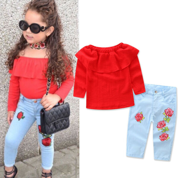 Kids Baby Girl Outfit Sets Shirt T-shirt Tops+Long Pants Jeans Clothes US STOCK