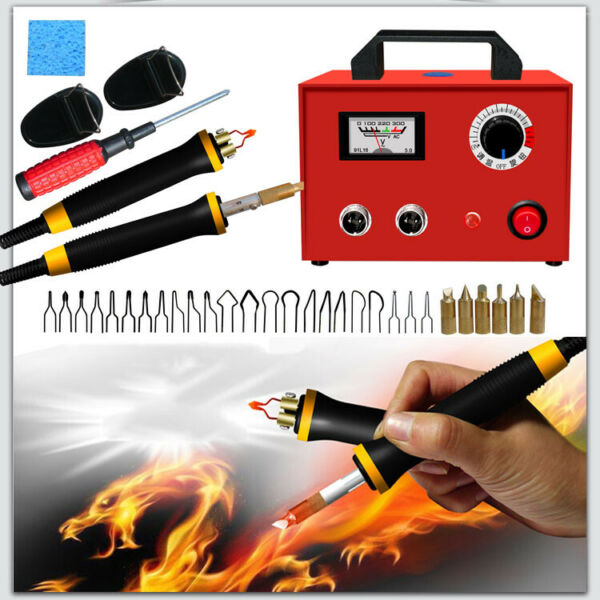 100W Wood Burning Tool Pyrography Machine  Dual Pen Craft Tools Kit w20Pcs Nib