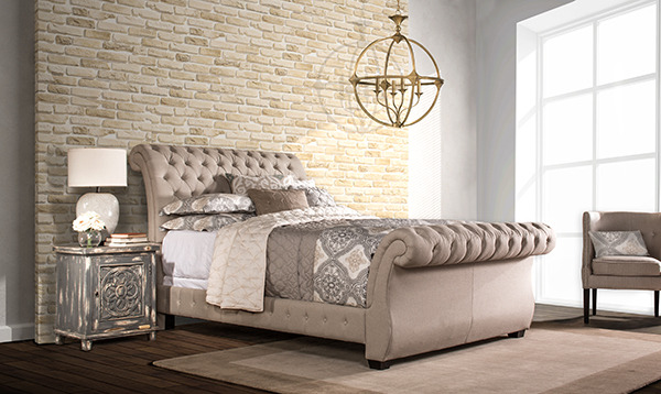 Upholstered Linen Button Tufted King Rolled Sleigh Bed with Rails