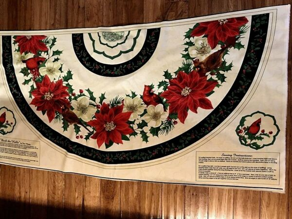 Christmas Deck the Halls  MANTEL  TREE SKIRT lg quilters cotton Fabric Panel