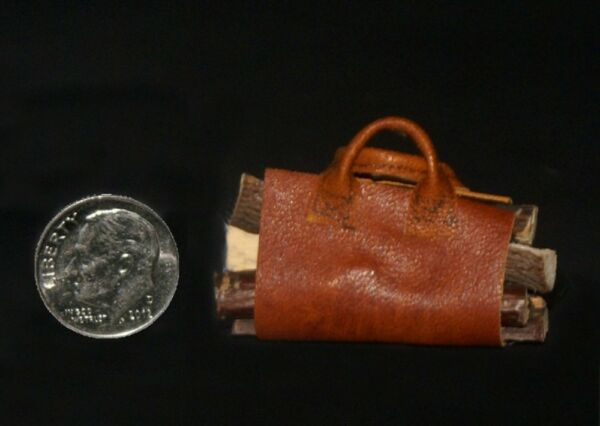 Log Carrier 1 with Logs Artisan Dollhouse Miniature 1:12 scale $9.95
