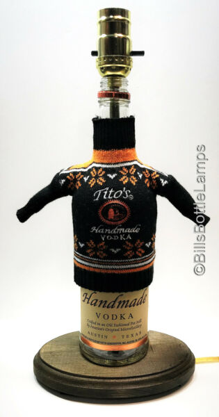 RARE! Tito's Vodka HOLIDAY SWEATER Liquor Bottle TABLE LAMP Light with Wood Base