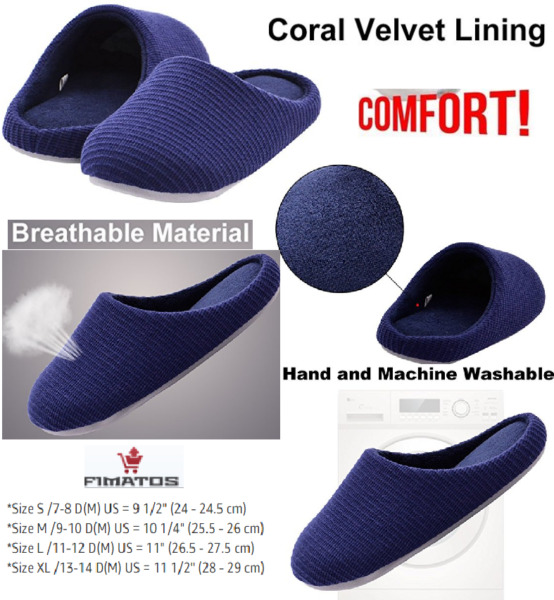 Men's Memory Foam Slippers Washable House Shoes with Non-Slip Sole11-12 D(M) US $24.86