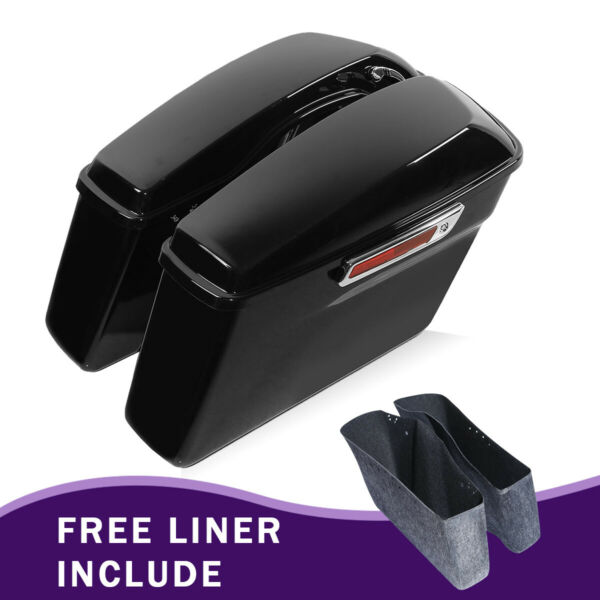 Glossy Black Hard Saddle bags Trunk For Harley Road King Electra Glide 2014 2020 $189.99