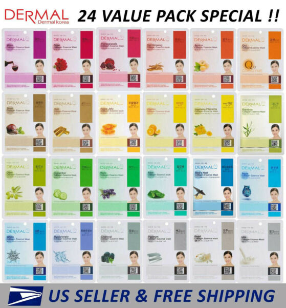 Dermal Korea Collagen Essence Full Face Facial Mask Sheet (24 Combo Pack) New