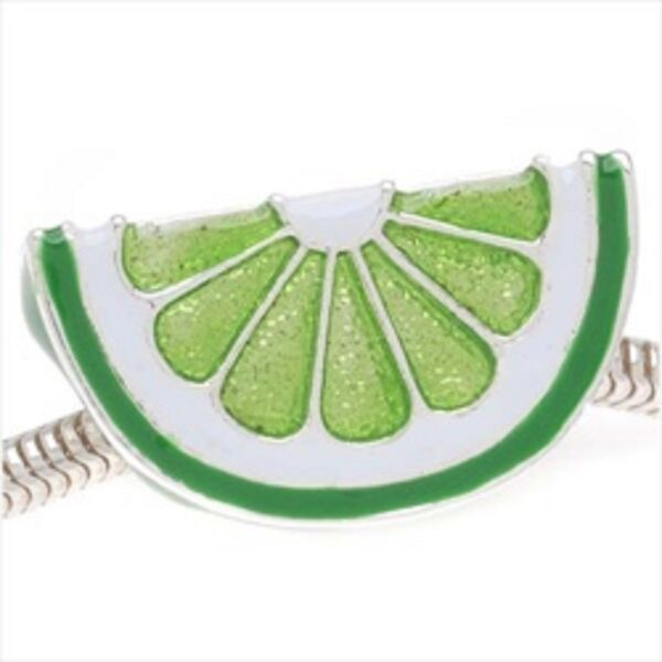 SILVER PLATED ENAMEL LIME SLICE FRUIT BEAD CHARM ** SEE MY STORE FOR BRACELETS